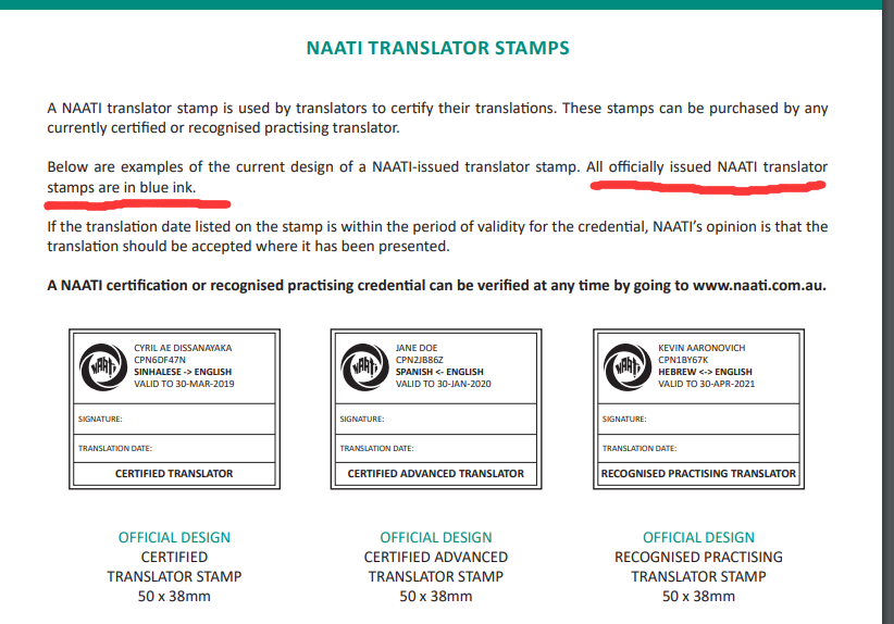 naati stamp explaination