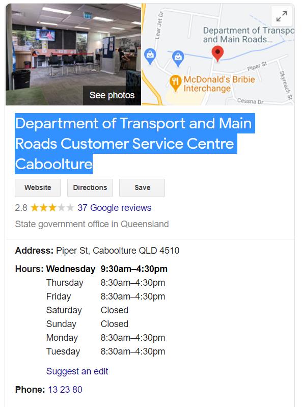 卡布丘Caboolture監理處地址和營業時間